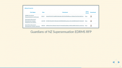 Screenshot of Guardians of NZ Superannuation EDRMS RFP showing an open standard PDF file, and DOCX and XLSX proprietary data files.