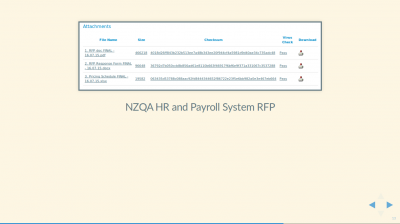 Screenshot of NZQA HR and Payroll System RFP tender showing PDF showing an open standard PDF file, and DOCX and XLSX proprietary data files.