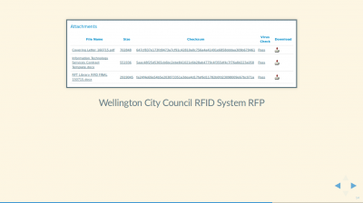 Screenshot of Wellington City Council RFID System RFP tender showing the same pattern: PDF, DOCX, and XLSX