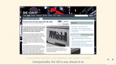 Screenshot of Bit-tech UK website, showing article about UK gov't adopting open standards mandate.