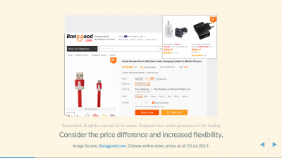 Banggood.com advert for Micro USB Cables with price of NZD1.36, delivered