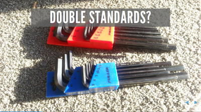 'Double Standard?' Image of two sets of Allen keys, one metric, the other US Standard